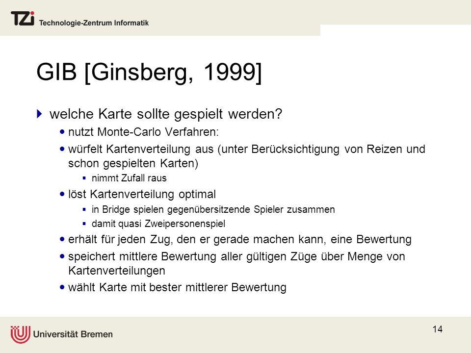 GIB [Ginsberg, 1999] welche Karte sollte gespielt werden